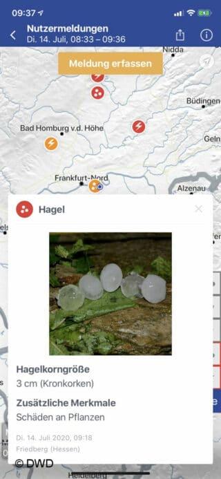 In der Wetterapp des DWD können Unwetterfolgen künftig selbst gemeldet und die Meldungen anderer Nutzer angesehen werden.