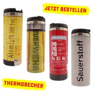 4 Thermobecher in Feuerwehr und Rettungsdienst Designs
